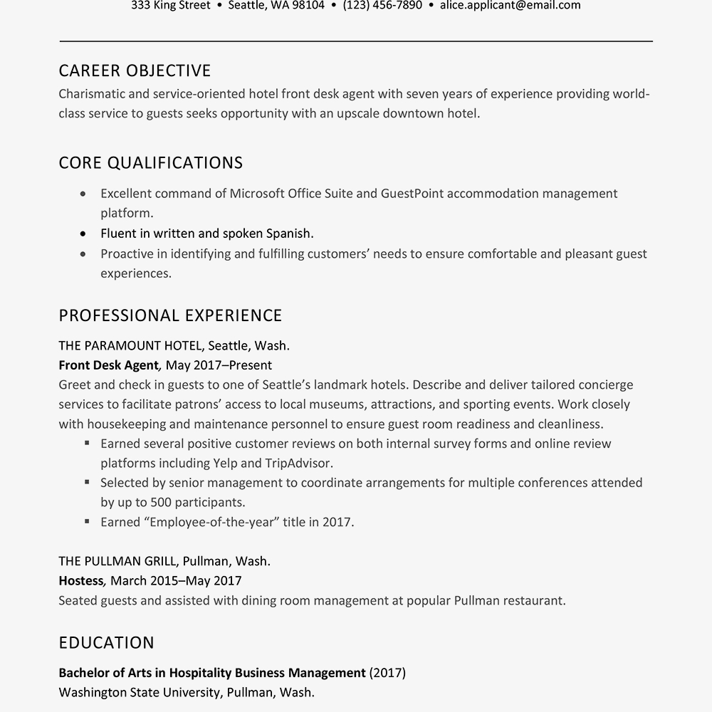 Resume Examples Office  Hotel Front Desk Resume Examples