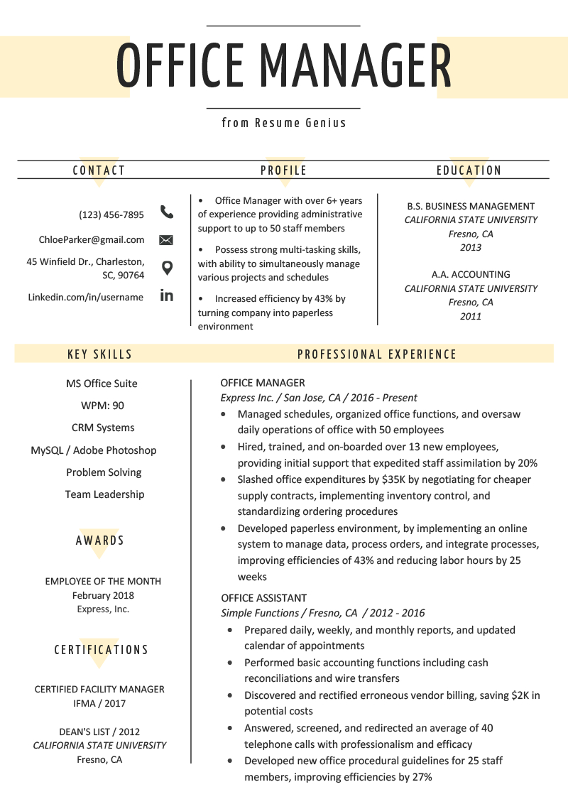Resume Examples Office  Office Manager Resume Sample Tips Resume Genius