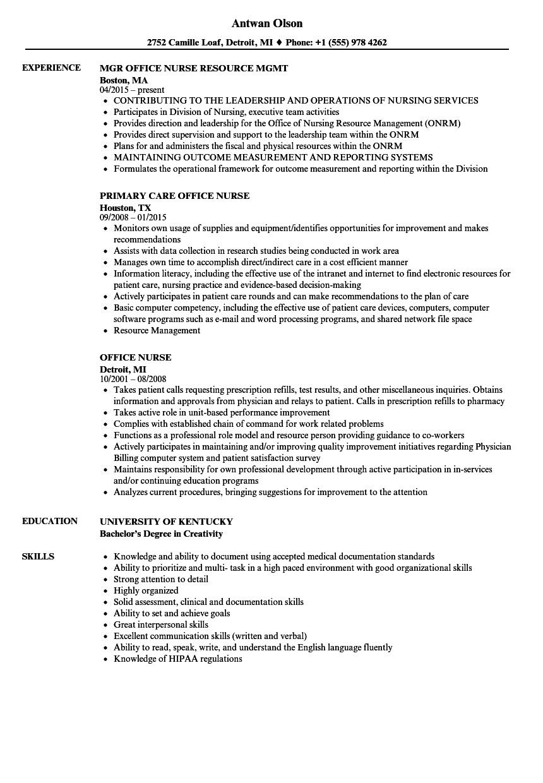 Resume Examples Office  Office Nurse Resume Samples Velvet Jobs