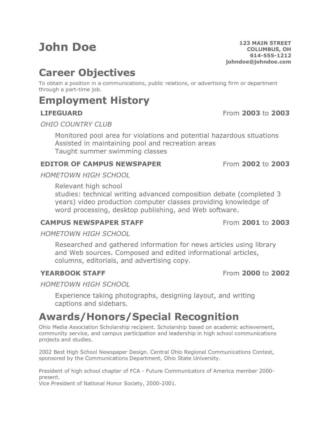 Resume Objective Examples  Teenage Resume Objective Duynvaerdernl