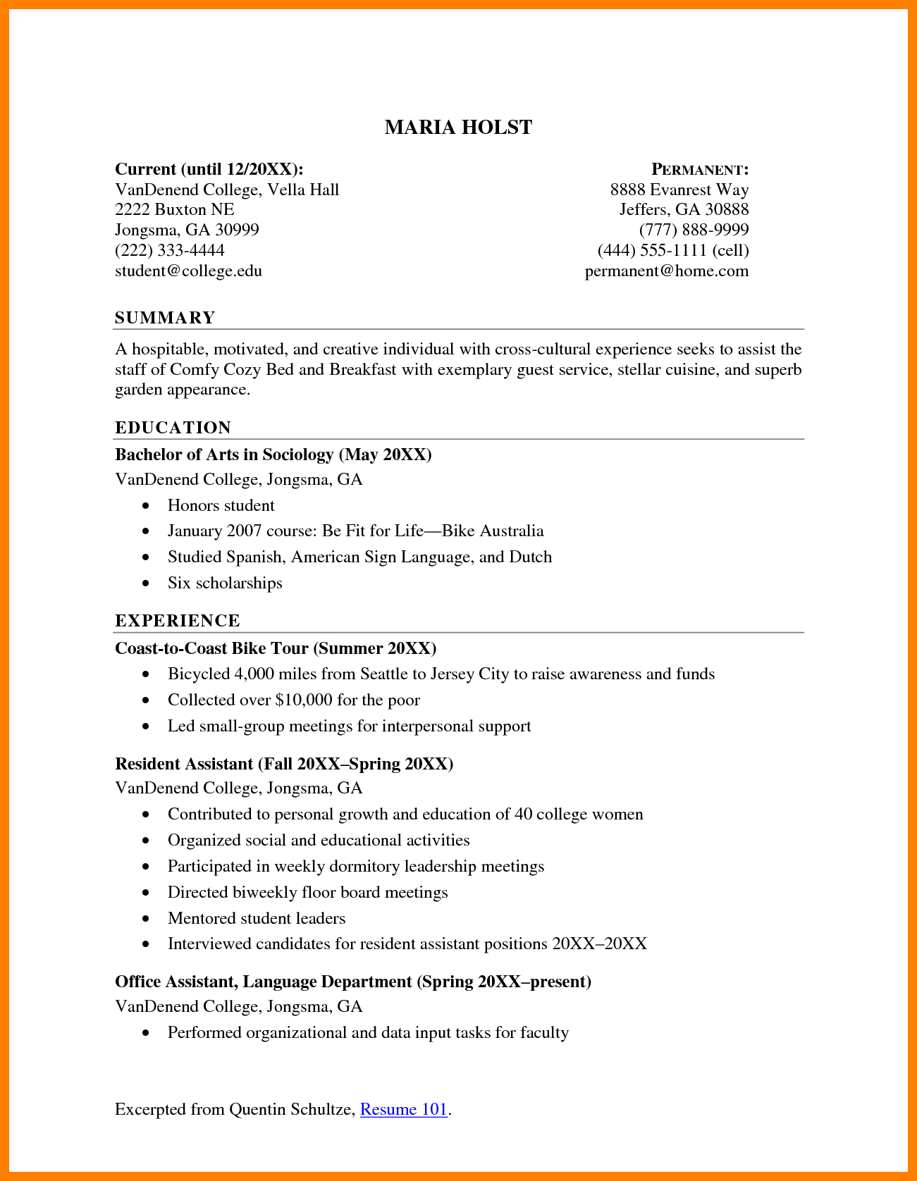 Resume Summary Examples 6 Resume Summary Examples For College Students Activo Holidays
