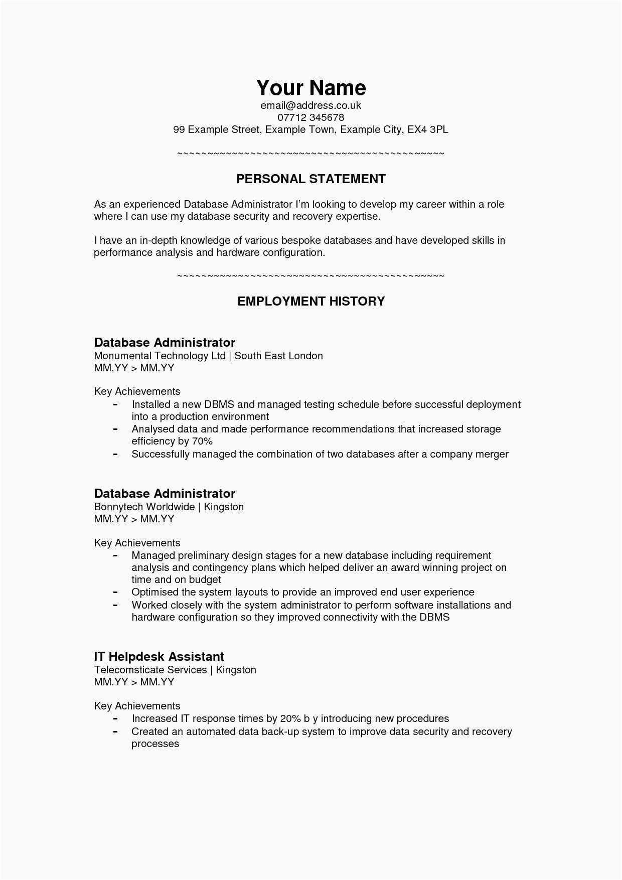 Resume Summary Statement Sample Resume Declaration Format New 22 Resume Summary Statement