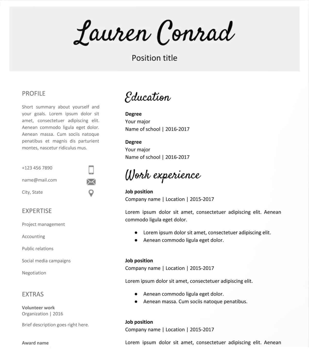 Resume Template Free Handwritten Headlines Google Docs Resume Template Free resume template free|wikiresume.com