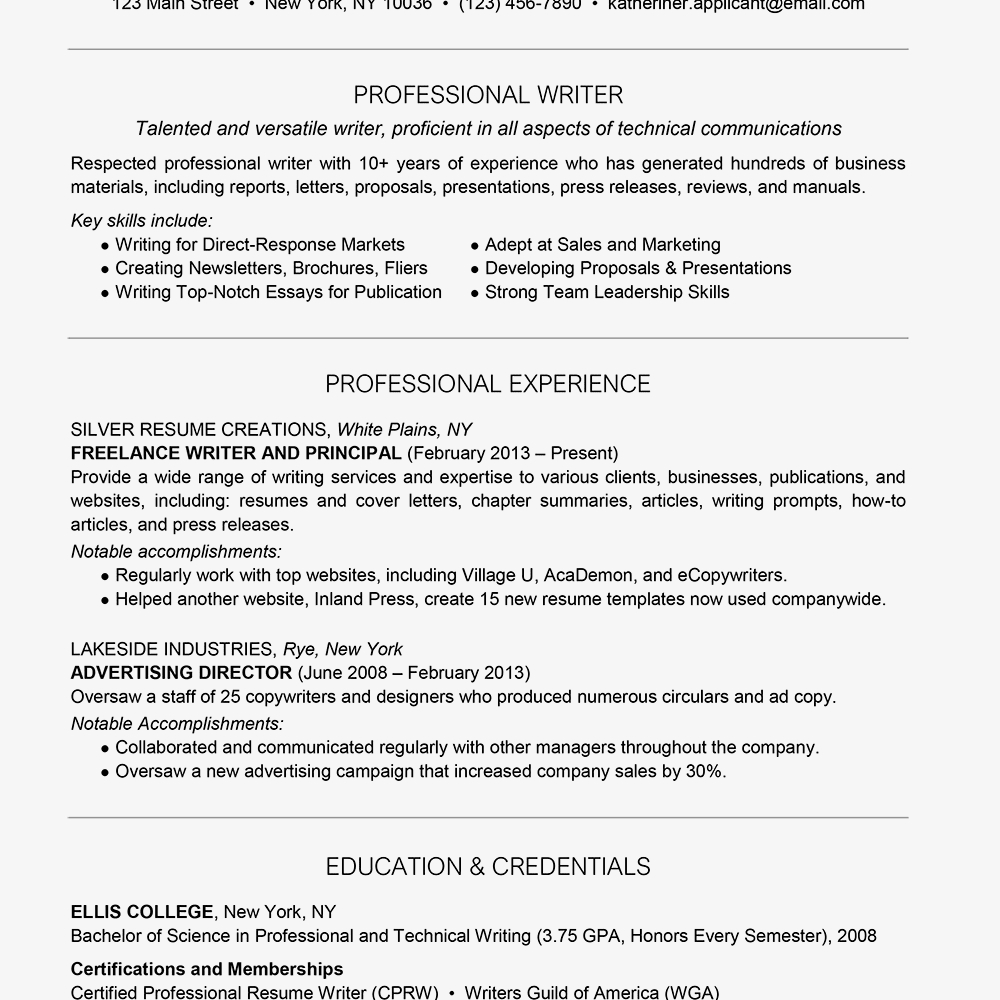 Resume Tips Skills Professional Writer Resume Example And Writing Tips