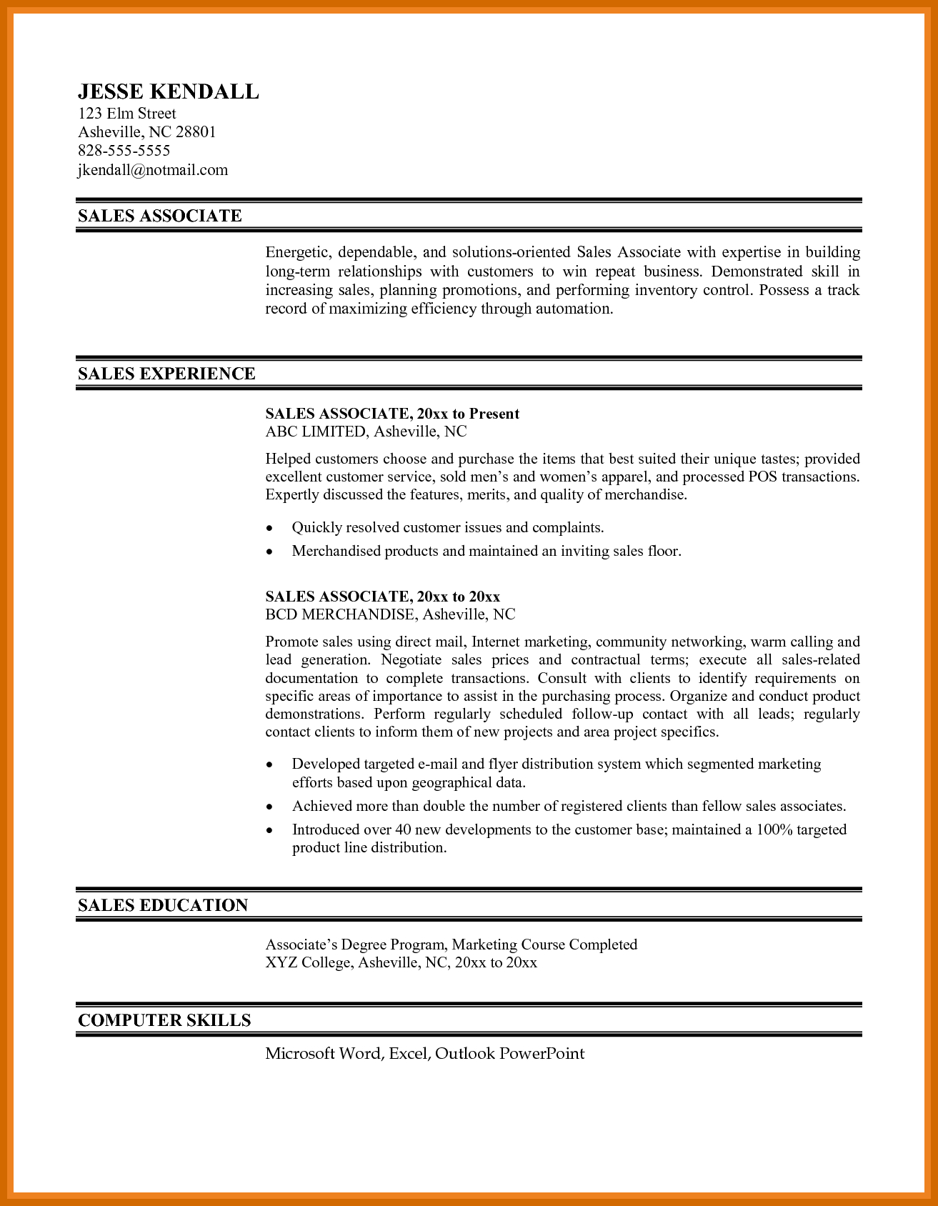 Sales Associate Resume  1 2 Sales Associate Resume Imageresume