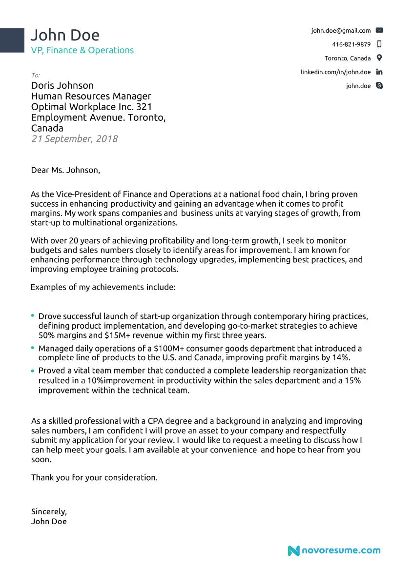 Sample Cover Letter For Resume Cover Letter Example For A Senior Executive sample cover letter for resume wikiresume.com