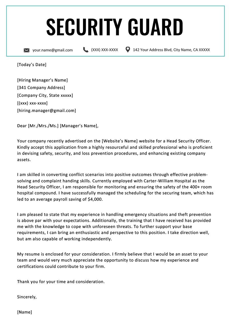 Sample Cover Letter For Resume Security Guard Cover Letter Example Template sample cover letter for resume|wikiresume.com