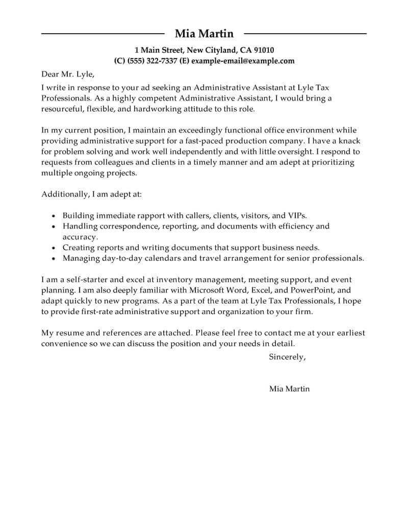 Samples Of Cover Letter  Best Administrative Assistant Cover Letter Examples Livecareer