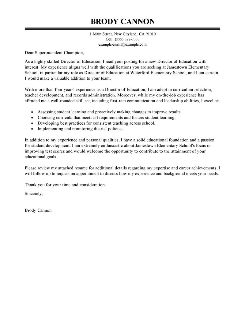 Samples Of Cover Letter  Leading Professional Director Cover Letter Examples Resources