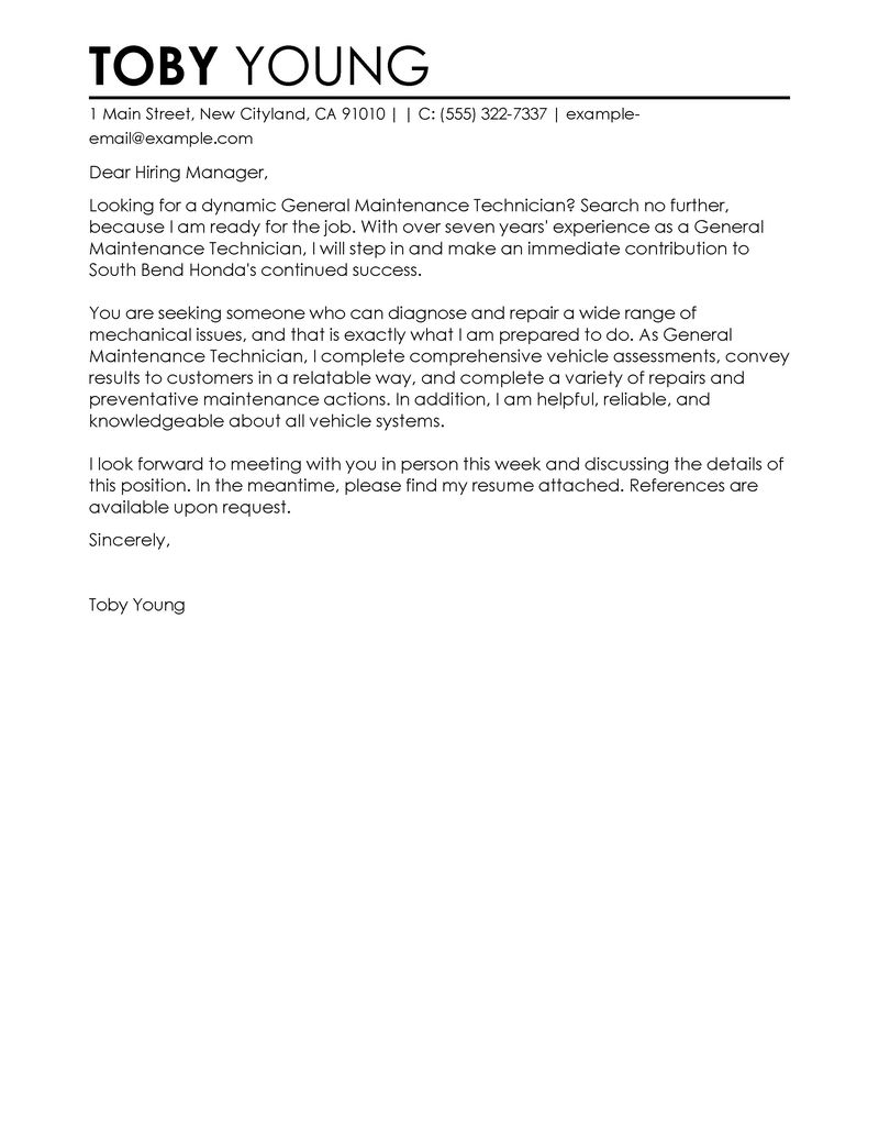 Samples Of Cover Letter  Leading Professional General Maintenance Technician Cover Letter