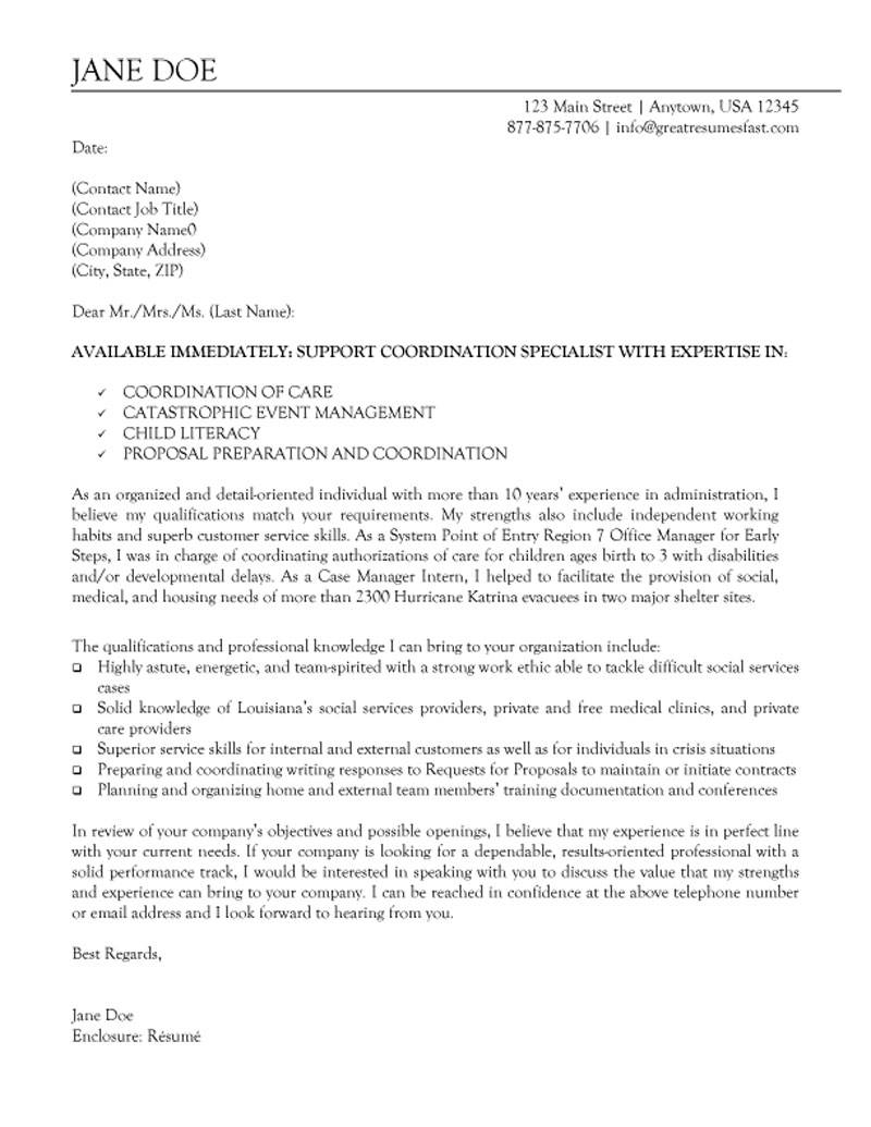 Samples Of Cover Letter  Non Profit Support Coordination Specialist Cover Letter