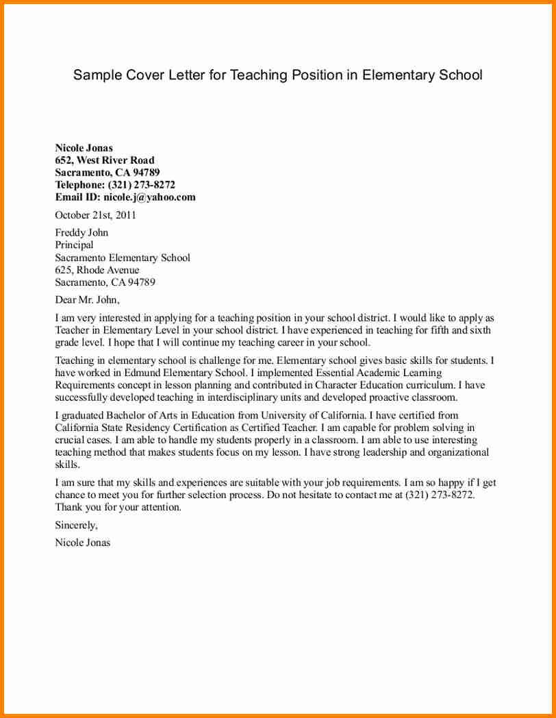 Teacher Cover Letter Elementary 5 Elementary Teaching Cover Letter Penn Working Papers
