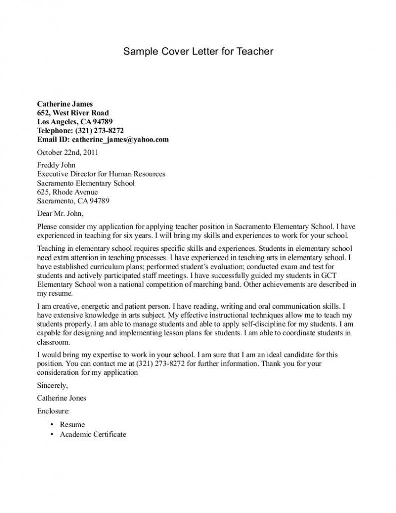 Teacher Cover Letter Example Cover Letter Template For Teachers Sample School Position 2060196v1