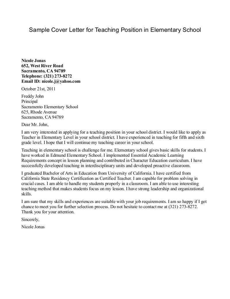 Teacher Cover Letter Example Elementary Teacher Resume Cover Letter Examples Resume Template