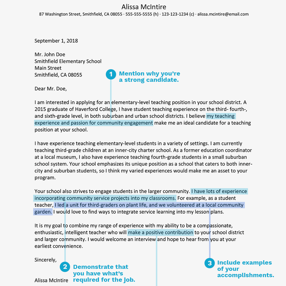 Teacher Cover Letter Example Teacher Cover Letter Example And Writing Tips