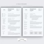 Two Page Resume Minimal Resume 3 Pages Cv Template For Word Two Page 2 Page Cv Template two page resume wikiresume.com