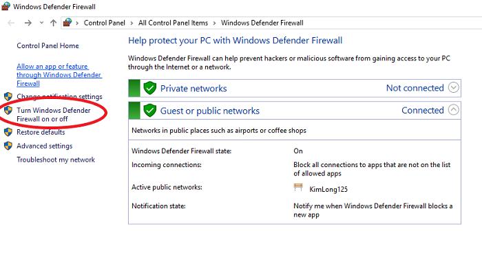 Click chuột vào Turn Windows Firewall