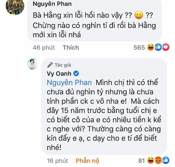 Vy Oanh cà khịa dưới bài viết của cô ngày 29/05/2021