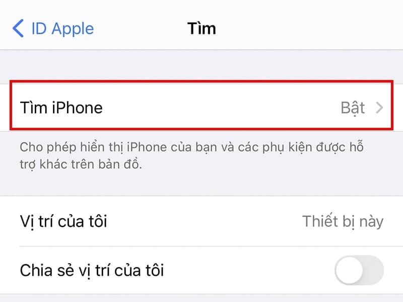 Bật Find my iphone
