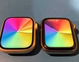 Hình Hình Hình ảnh thực tiễn phản ánh kích thước monitor hiển thị của Apple Watch Series 7 rộng hơn so với Series 6 - ảnh minh hoạ