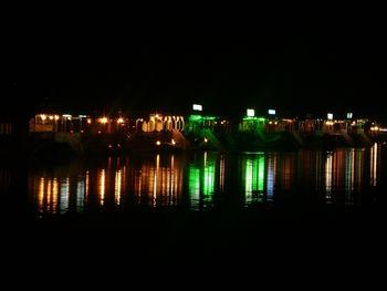 Houseboats in Dal Lake at night