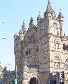The Gothic facade of the Chhatrapati Shivaji railway terminus, popularly known as VT (Victoria Terminus) station.