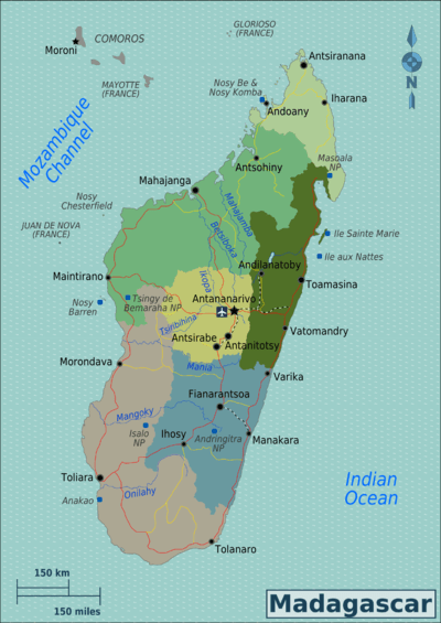 Map of Madagascar with regions colour coded