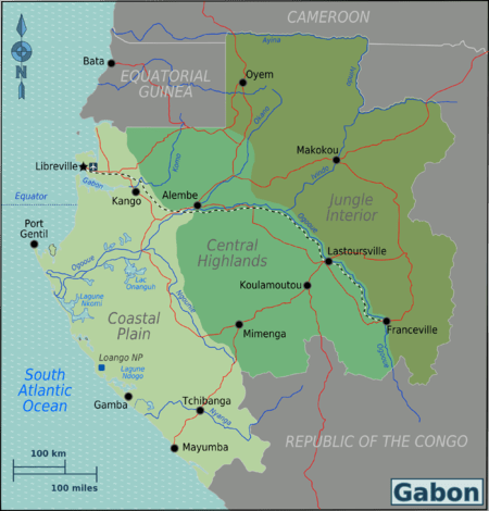 Map of Gabon with regions colour-coded