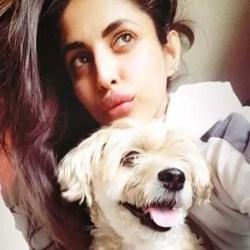 Priya with pet dog