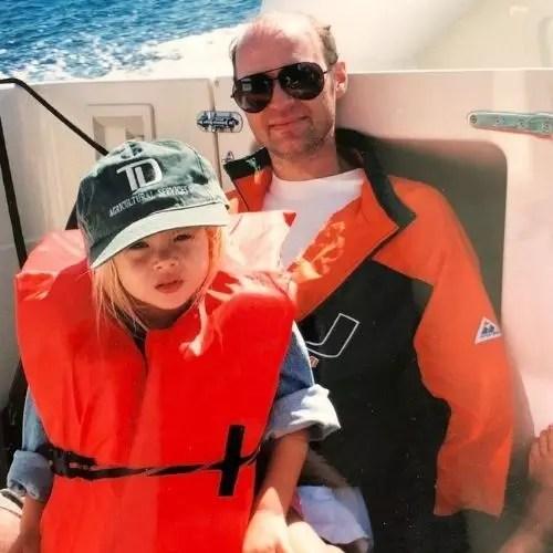Sarah Dugdale with father (Childhood photo)