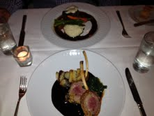Encrusted rack of lamb, accompanied by gratin dauphinois, spinach, rosemary jus
