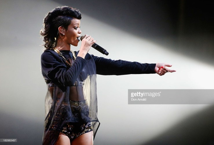 SYDNEY, AUSTRALIA - OCTOBER 03: Rihanna performs live on stage at Allphones Arena on October 3, 2013 in Sydney, Australia. (Photo by Don Arnold/WireImage)