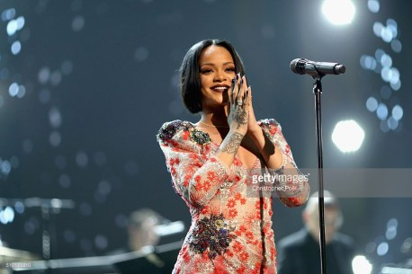 LOS ANGELES, CA - FEBRUARY 13: Singer Rihanna performs onstage during the 2016 MusiCares Person of the Year honoring Lionel Richie at the Los Angeles Convention Center on February 13, 2016 in Los Angeles, California. (Photo by Christopher Polk/Getty Images for NARAS)