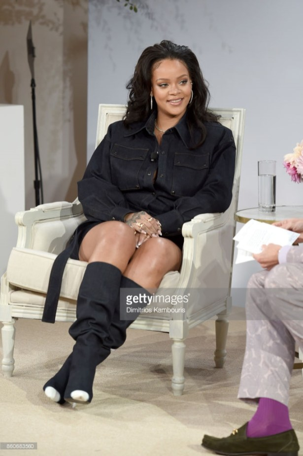 NEW YORK, NY - OCTOBER 12: Rihanna speaks onstage during Vogue's Forces of Fashion Conference at Milk Studios on October 12, 2017 in New York City. (Photo by Dimitrios Kambouris/Getty Images)