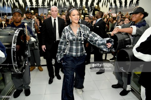 Rihanna Hosts Pep Rally To Celebrate Launch Of The AW17 FENTY PUMA By Rihanna Collection At Bloomingdales On 59th Street NEW YORK, NY - OCTOBER 13: Rihanna hosts a pep rally to celebrate the launch of the AW17 FENTY PUMA by Rihanna collection at Bloomingdales on 59th Street on October 13, 2017 in New York City. (Photo by Dimitrios Kambouris/Getty Images for FENTY PUMA by Rihanna)