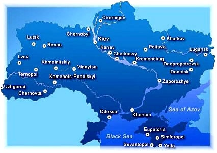 Ukraine Map 2011 Sevastopol & Lviv (Lvov)
