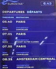 Departure Board showing the first ever scheduled direct Eurostar service from London to Amsterdam