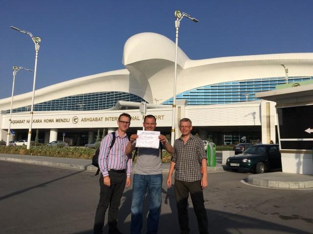 Wilbur & Hamish with Aziz, Ashgabat International Airport