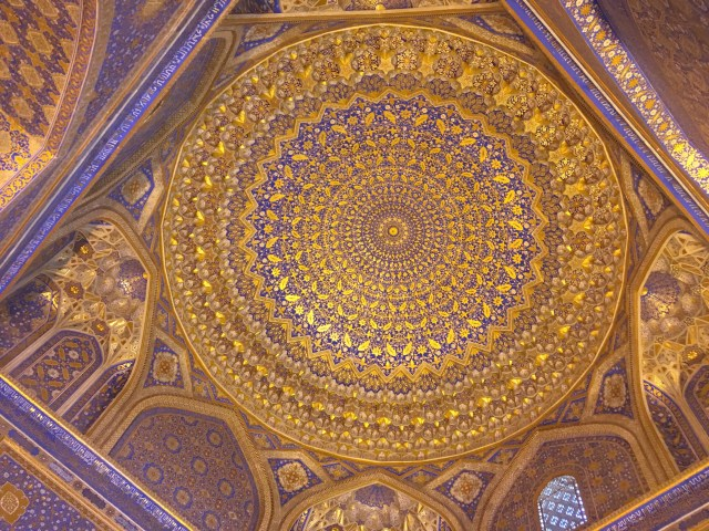 Ceiling of Ulugh Beg Madrasah, Registan, Samarkand, Uzbekistan