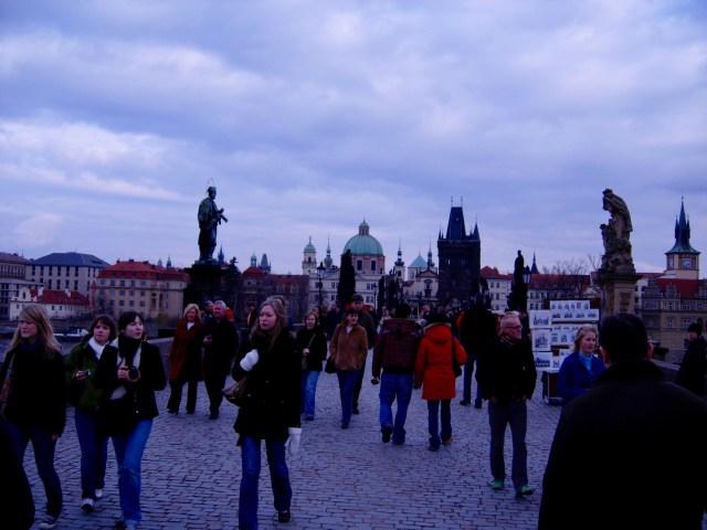 Crossing Charles Bridge, Prague, October 2007