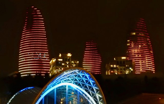 Baku Flame Towers Lit Up