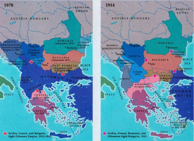 The Balkan Map Before & After The Wars