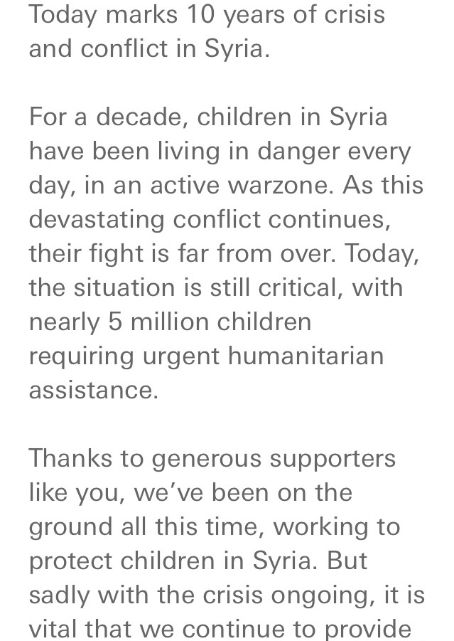 UNICEF Syria Appeal