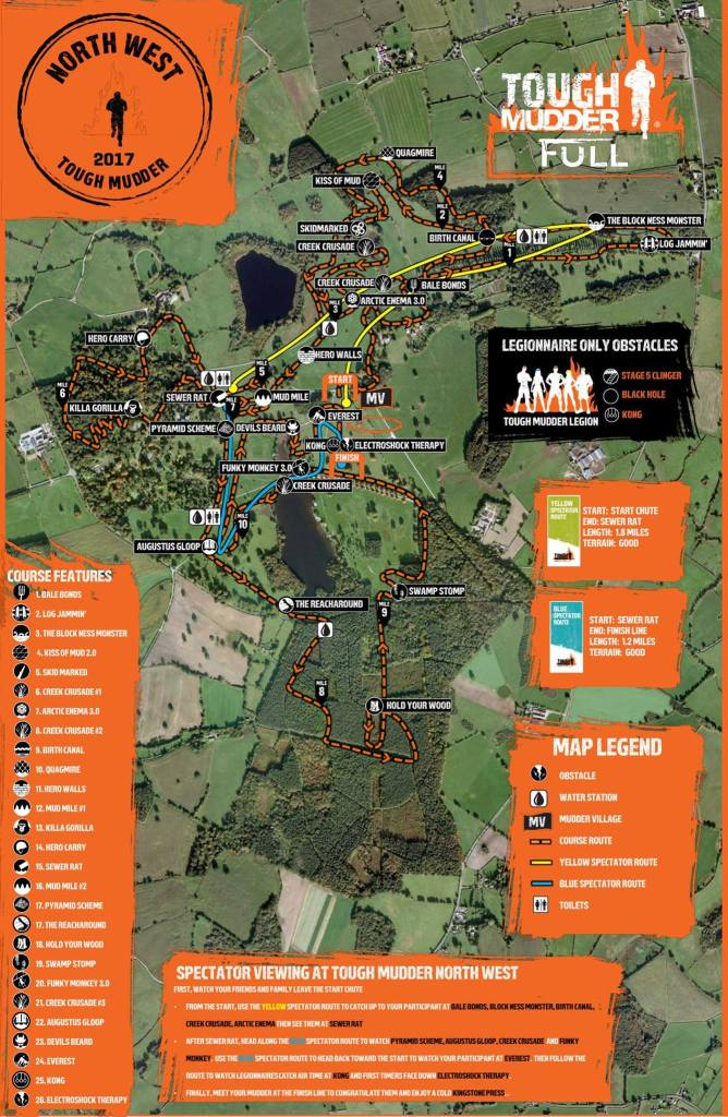 Tough Mudder north west course map