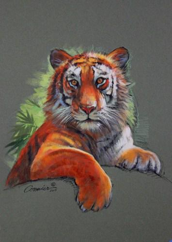 mixed media tiger
