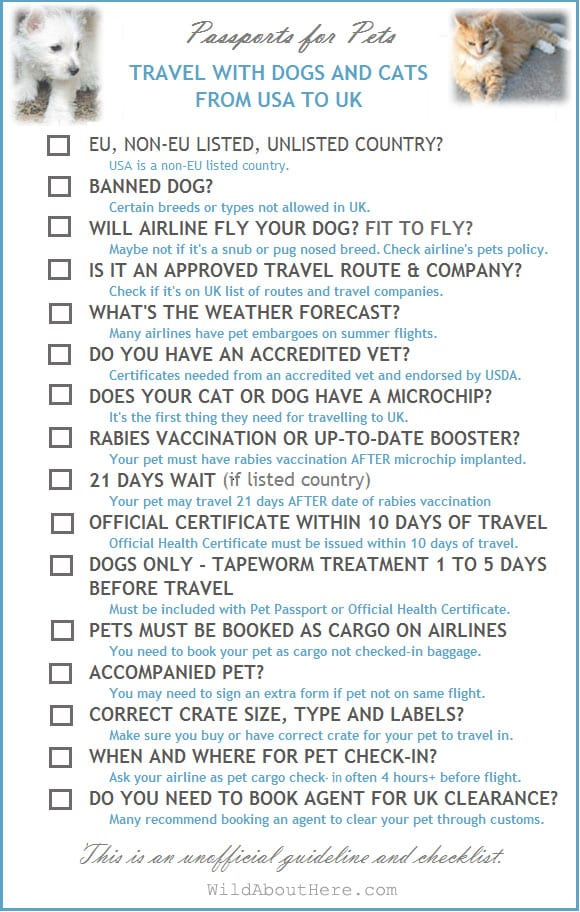 Moving pets to UK checklist
