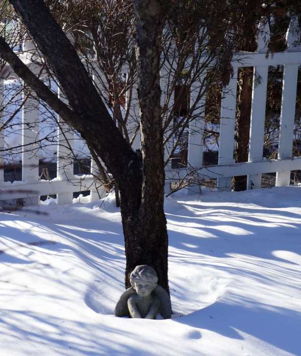 angel statue in the snow