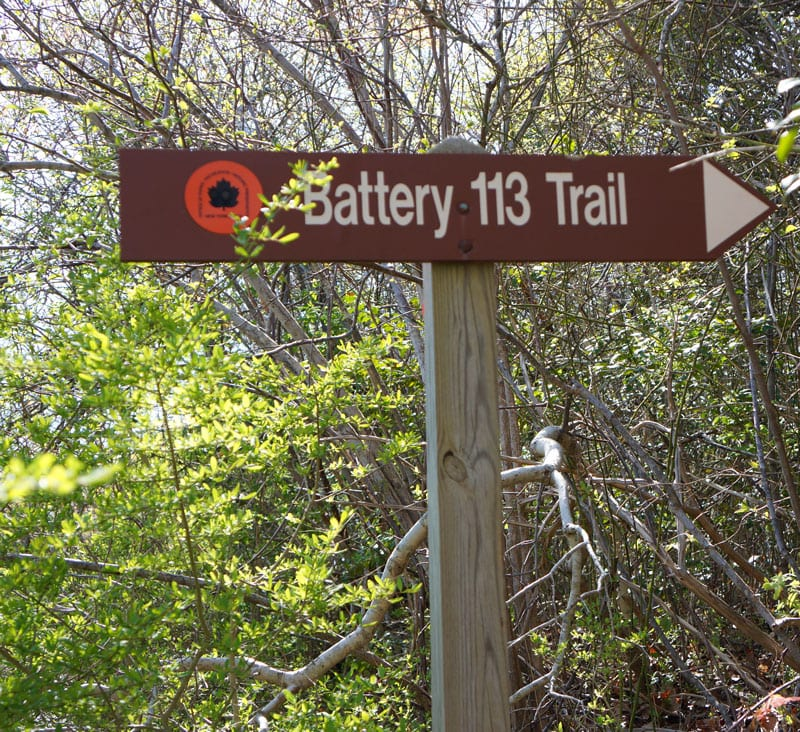 Battery 113 trail sign