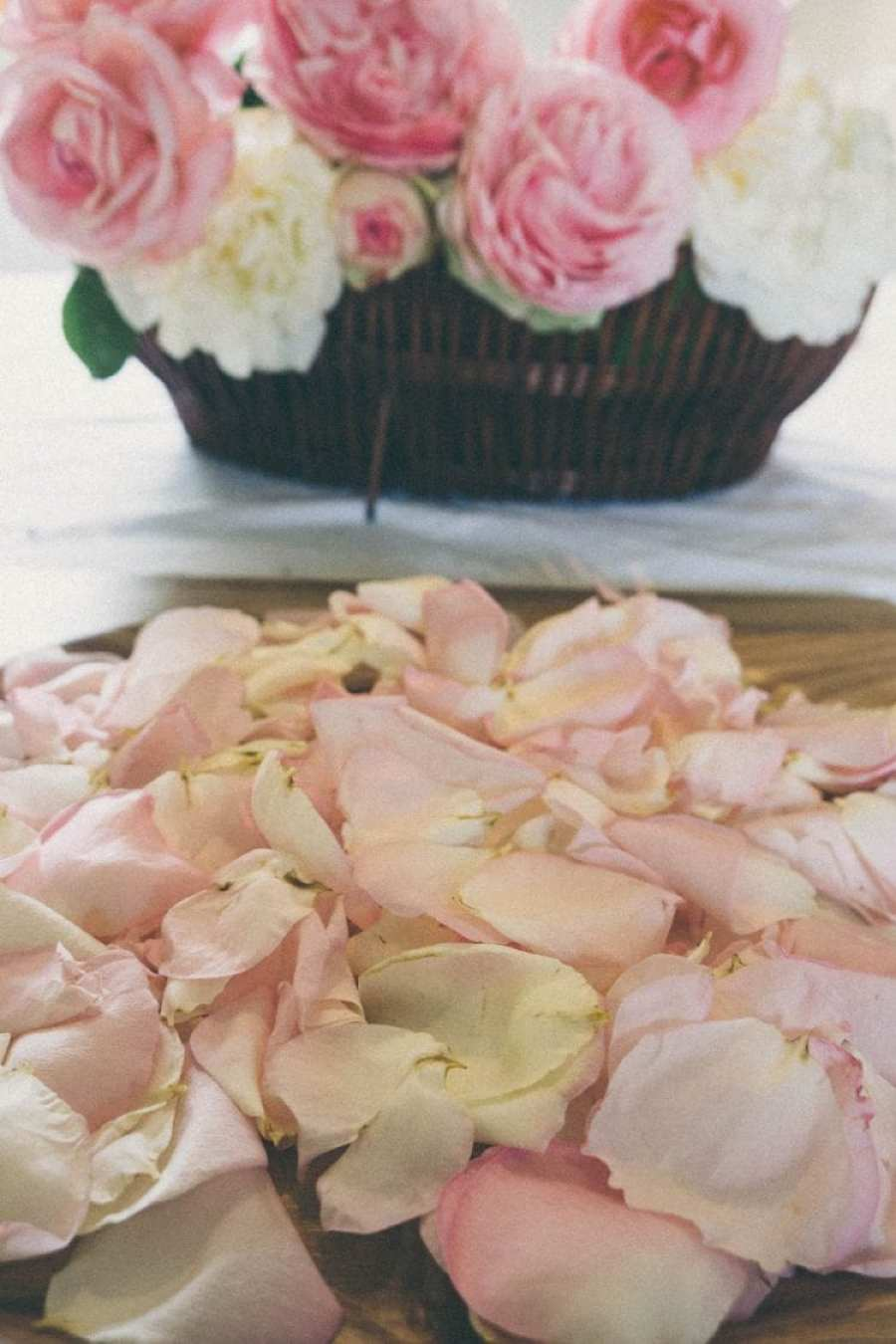 Petals and basket of roses