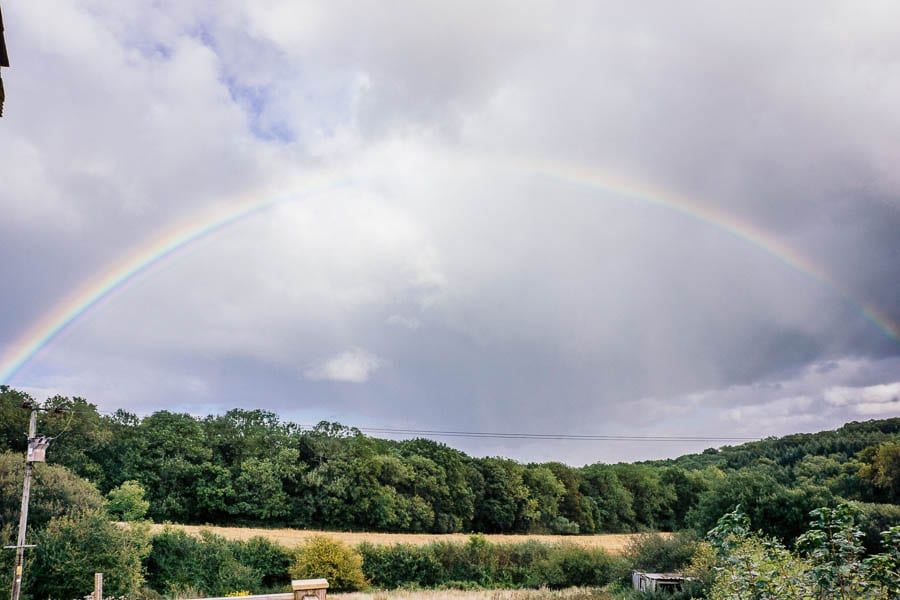 Hedgerows and rainbow arch